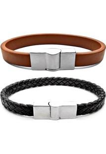 2 Bracelete Gafeno Acessórios De Couro Preto/Marrom - Kanui