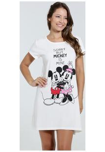 Camisola Feminina Estampa Minnie Mickey Manga Curta Disney