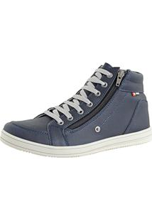 Tênis Cr Shoes Casual Cano Médio Sapatofran Com Zíper Azul