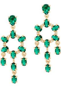 Brinco Candelabro Cristais Verdes Rommanel - Feminino-Dourado