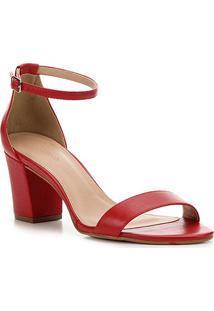 Sandália Couro Shoestock Salto Bloco Médio Feminina - Feminino-Vermelho