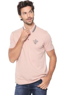 Camisa Polo Malwee Reta Bordada Rosa