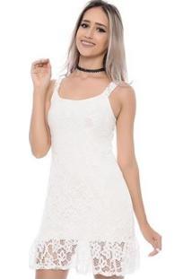 Vestido Bbonnie De Alça Curto De Renda - Feminino-Branco