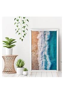 Quadro Love Decor Com Moldura Chanfrada Praia Branco - Grande