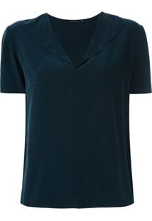 Alcaçuz Blusa Miami Decote Com Lapela - Azul