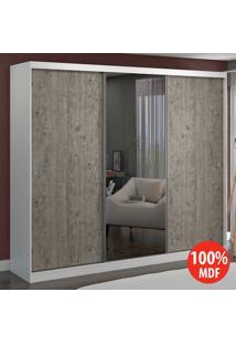Guarda Roupa 3 Portas Com 1 Espelho 100% Mdf 7320E1 Branco/Demolição - Foscarini