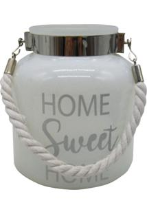 Castiçal Em Vidro Com Alça Branco Home Sweet Home Urban Home