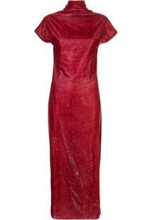 Paula Knorr Vestido Drapeado De Veludo - Vermelho