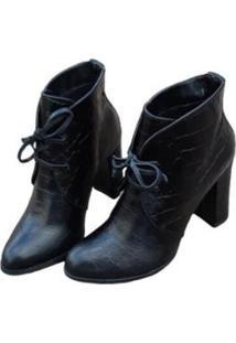 Bota Smidt Ankle Boot Salto Alto Croco Feminino - Feminino-Preto