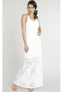 40a66f38b8 ... Vestido Feminino Longo Em Renda Alça Dupla Decote V Off White