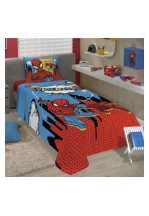 Jogo De Cama Solteiro Lepper Spider Man 2 Peças Azul E Vermelho