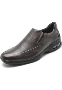 Sapato Social Couro Anatomic Gel Pespontos Marrom