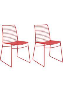 Kit 2 Cadeiras 1712 Vermelho Real - Carraro Móveis