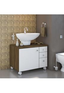 Gabinete P/ Banheiro Móveis Albatroz 1 Porta 3 Gavetas Cedro/Branco