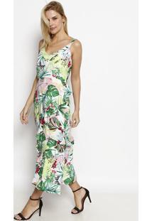 Vestido Midi Floral Com Babados - Verde & Rosa Claromoisele