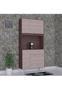 Cozinha Compacta 6 Portas 1 Gaveta Kit Cássia 6172 Capuccino/Amêndoa - Poquema