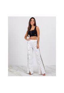 Calça Miss Misses Pantalona Com Faixas E Botões Off-White