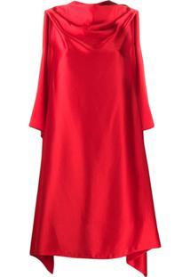 Neil Barrett Vestido Drapeado Assimétrico - Vermelho