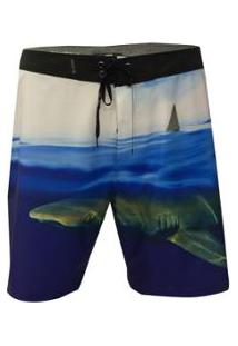 Bermuda Água Hurley Phantom Clark Week Masculina - Masculino-Branco+Azul