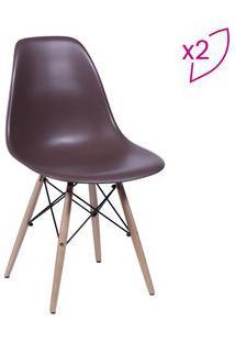 Or Design Jogo De Cadeiras Eames Dkr Cafã© & Madeira 2Pã§S