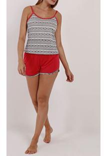 Pijama Curto Feminino Branco/Rosa