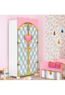 Guarda Roupa Infantil Pura Magia Premium Castelo 2 Portas Branco/Rosa