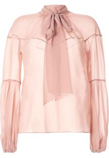 Nº21 Sheer Pussy-Bow Blouse - Rosa