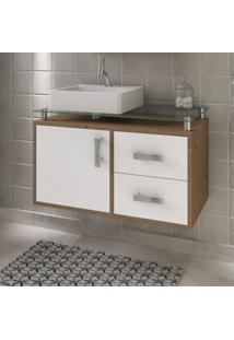 Gabinete De Banheiro 1 Cuba Sobreposta Em Base De Vidro Évora Mgm Móveis Amêndoa/Branco