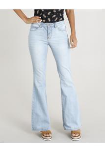 77b16826f CEA. Calça Jeans Feminina Flare Cintura Alta Azul Claro