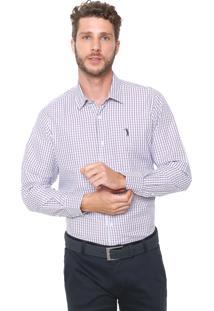 Camisa Aleatory Slim Xadrez Branca/Roxa