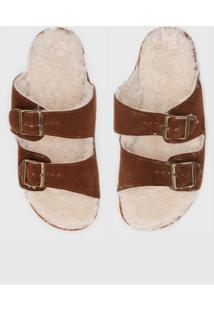 Rasteira Birken Dafiti Shoes Conforto Com Fivelas E Pelo Caramelo