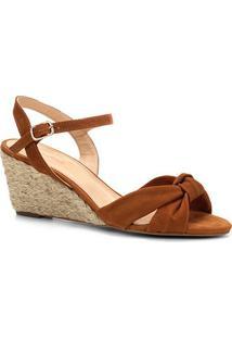 Sandália Anabela Shoestock Nobuck Nó Feminina