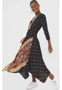 Vestido Desigual Midi Assimétrico Preto/Vinho - Kanui
