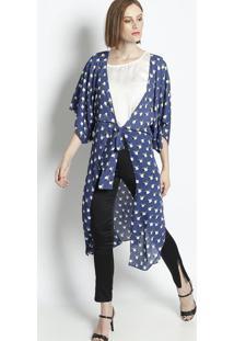 Kimono Floral Com Amarração - Azul Marinho & Branco-Linho Fino