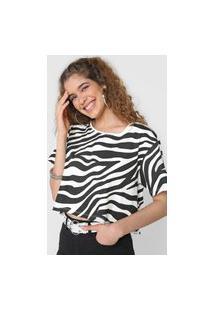 Camiseta Cropped Forever 21 Zebra Branca/Preta