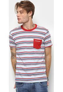 Camiseta Cavalera Estampa Listrada Detalhe Bolso Masculina - Masculino-Azul+Vermelho