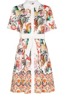 Mary Katrantzou Vestido Mini Estampado Com Cinto - Rosa