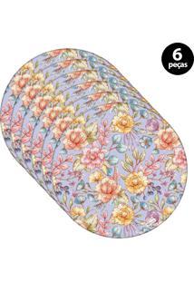 Sousplat Mdecore Floral 32X32Cm Roxo 6Pçs