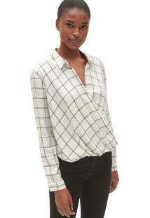 Camisa Gap Xadrez Transpassada Branca/Preta