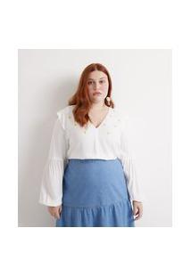Blusa Bata Em Viscose Com Bordados De Margaridas Curve & Plus Size