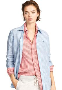 Camisa Polo Ralph Lauren Slim Stretch Stripe Azul/Branca