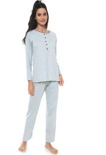 Pijama Pzama Estampado Verde/Azul-Marinho