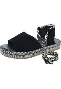 Sandalia Mariha Calçados Flatform Tira Preta