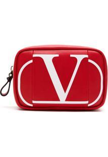 Valentino Necessaire De Couro Com Logo - Vermelho