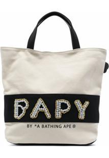 Bapy By *A Bathing Ape® Pearl-Logo Cotton Tote Bag - Branco