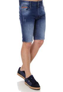 Bermuda Jeans Slim Masculina Gangster Azul
