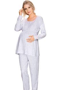 Pijama Vincullus Gestante Inverno Branco Mescla