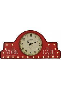 Relógio De Parede Vintage Decorativo York De Metal Com Luzes - Unissex