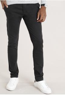 Calça Masculina Chino Skinny Em Algodão + Sustentável Preta