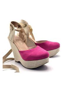 Sandália Feminina Anabela Salto Alto Em Camurça Pink Com Salto Em Juta